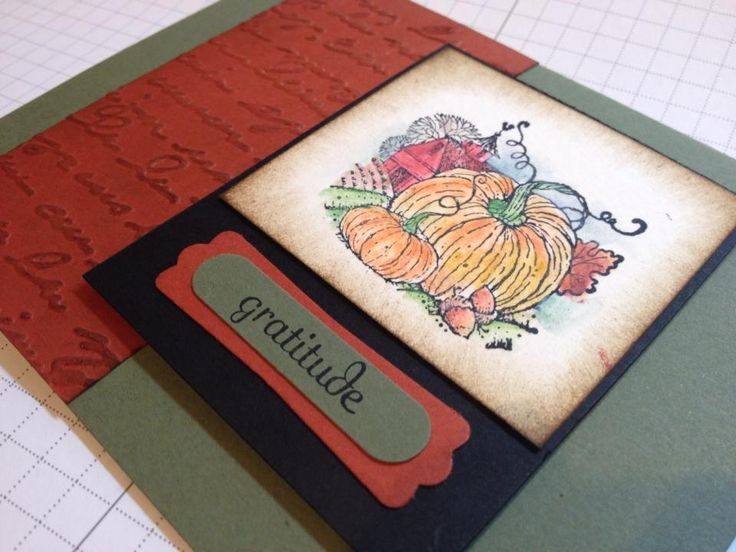 """October 2013  """"Take Ten"""" Autumn Cards Always Artichoke and Cajun Craze are the primary colors shown. The harvest image is one of the wonderful images in our """"Best of Autumn"""" stamps. The script embossing folder is on page 24 of the Holiday Happiness catalog. The Word Window and Modern Label punches are two of my essentials! Fabulous Phrases offers 30 special words that fit perfectly into the punch frame! www.lisah.stampinup.net"""