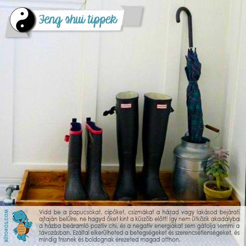 FENG SHUI TIPP: BE A CIPŐKKEL!  A ház vagy lakás bejárati ajtaján kívül ne hagyj cipőket, papucsokat! Fontos ugyanis, hogy a főbejáraton akadálytalanul tudjon ki- és beáramlani a chi. Ha befelé menet a cipők és papucsok szagát viszi be magával, az betegséget és szerencsétlenséget okozhat. Ha viszont szabadon áramlik, beviszi a pozitív és kiviszi a negatív energiákat. #fengshui