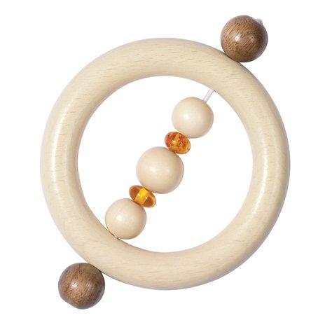 Touch Ring Amber H735080.Een leuk kraamkadootje! Deze houten touch ring is uitstekend te combineren met een leuke houten wagenspanner. Laat je houten speelgoed thuis bezorgen of kom het afhalen in Hoogeveen of Westerbork. - Heimess Bijring Amber