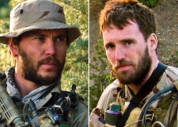 Left: Taylor Kitsch as Michael Murphy in Lone Survivor. Right: Navy SEAL Lieutenant Michael P. Murphy, killed in action on Jun. 28, 2005.