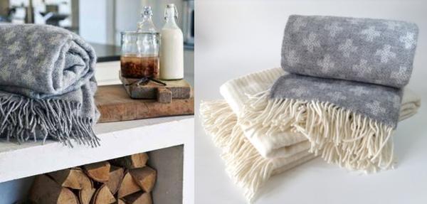 Klippan Lambs Wool Woven Blanket - Cross Grey * * 100% NZ WOOL * *
