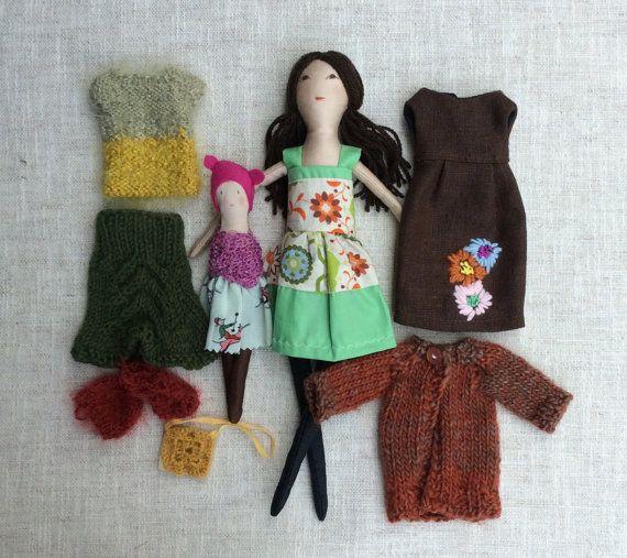 "Stoff-Puppe, Anzieh, Puppe, Mutter-Tochter-Puppen, Puppe Satz, Spielset, weiche Puppe, 13"" Puppe, Stoffpuppe,"