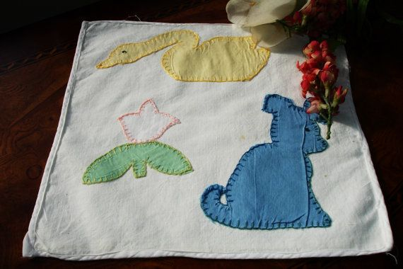 Baby Pillow cover Pillow case Applique Primitive Baby