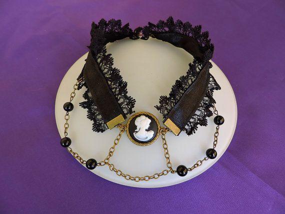 Gargantilla camafeo, Gargantilla victoriana con encaje, Gargantilla gótica, Joyería Victoriana, Collar boda victoriano, Gargantilla negra
