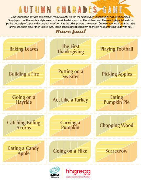 This season, rake in the fun with this Autumn Charades Game! Test your families ability to act things out.