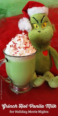 Our Grinch Hot Vanilla Milk is a fun How the Grinch Stole Christmas themed Christmas Treat that is so easy to make. It tastes great too! It is guaranteed to make YOUR heart grow three sizes and fill you with the true meaning of Christmas just like the Grinch! It's perfect for a cold wintery day or as fun Christmas Dessert for family movie night. Follow us for more great Christmas Food Ideas.