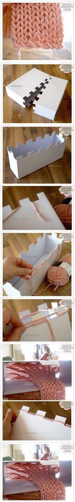 Patrones para Crochet: Tejer con Telar de Caja de Carton