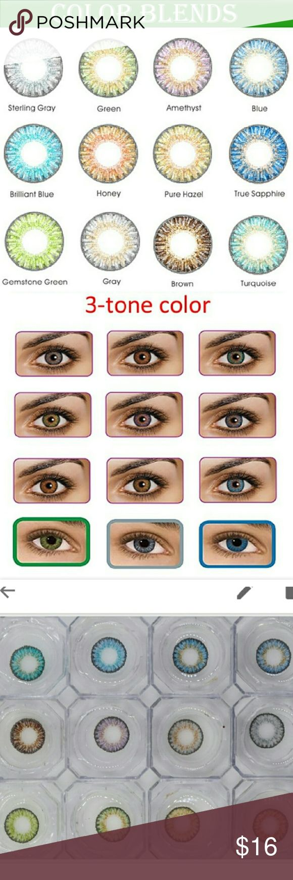 Colored Eye Contact Lenses Tri-Color Collection My selection of colored contacts come in exiting shades of blue, gray, green, purple and hazel Fresh ang Go & Fresh Look Makeup