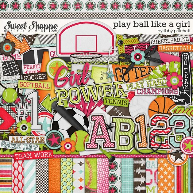 Play Ball Like A Girl by Libby Pritchett: Scrapbook Kits, Design Digital Scrap, Design Libby Pritchett Plays, Digital Scrapbook, Scrapbook Wishlist, Digiscrap Wishlist, Scrapbook Goodies, Digi Scrapbook, Kits Plays Ball