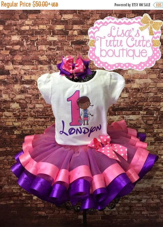 Presidents Day sale Doc McStuffins Birthday tutu set. Ribbon trimmed tutu. Purple and Pink tutu. Personalized birthday outfit. Doc McStuffin