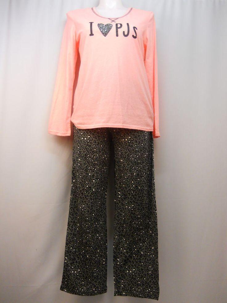 Women Pajama Set SIZE L Animal Print Long Sleeves Scoop Neck SECRET TREASURES #SecretTreasures #PajamaSets #Everyday