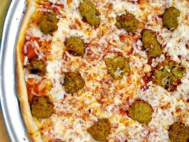 We Try the Falafel Pie From Benjy's Kosher Pizza Dairy Restaurant & Sushi Bar, Queens | Serious Eats