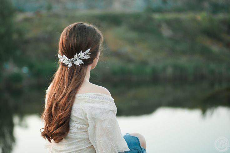 Украшение в прическу Свадебное украшение в прическу Украшение в прическу ручной работы Веточка в прическу