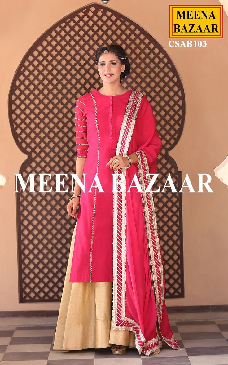 Defining elegance and charm in a new and glamorous way is this Pink chanderi sharara Suit. The eye-catching zari embroidery lines and gota work on sleeves will surely reflect your fine taste in ethnic clothing. Comes with matching dupion golden flared sharara and chinon dupatta with gota borders.