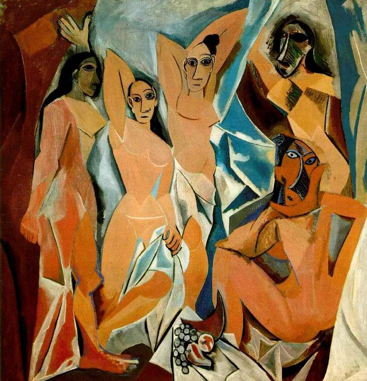 Les Demoiselles d'Avignon (The Young Ladies of Avignon, and originally titled The Brothel of Avignon) is a large oil painting created in 1907 by the Spanish artist Pablo Picasso (1881–1973). The work portrays five nude female prostitutes from a brothel on Carrer d'Avinyó (Avinyó Street) in Barcelona.