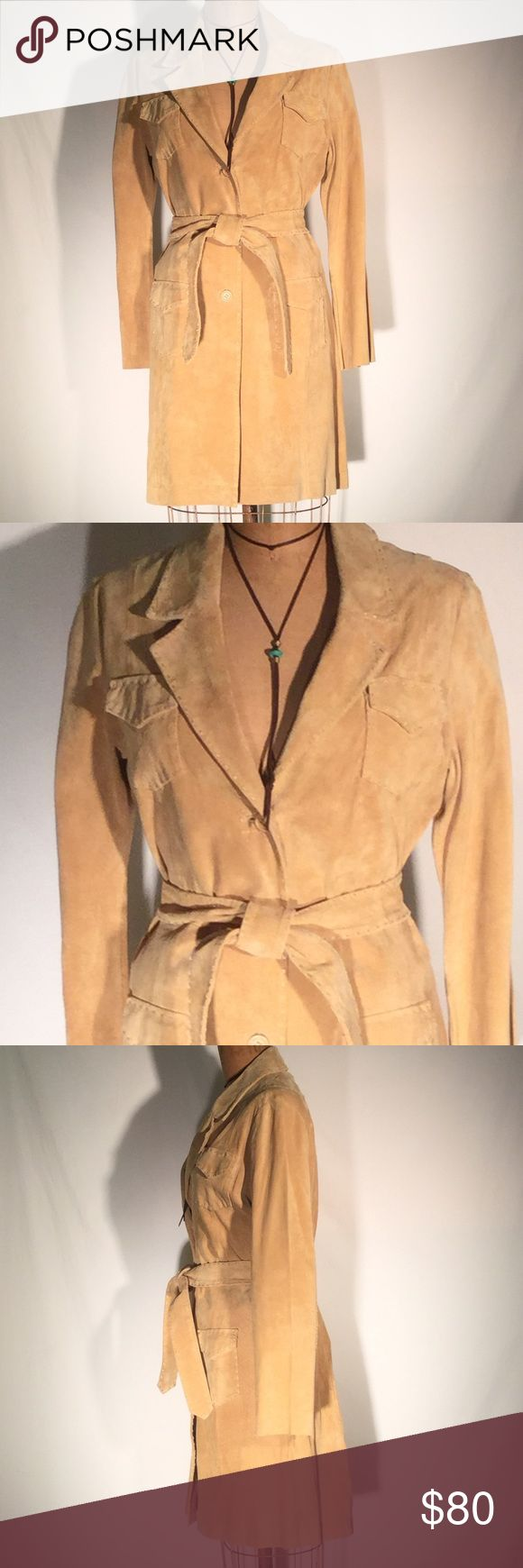 """Suzanne Somers cameltan trench coat w/stitch edges Suzanne Somers Collection camel color suede trench coat with stitched edges, 3-button front, notched collar, 2 flap/patch breast pockets & 2 flap/patch hip pockets, belted, princess seams. Unlined. 35.5"""" from top of shoulder to hemline. Size Small. 100% genuine suede leather. PM659 Suzanne Somers Jackets & Coats"""