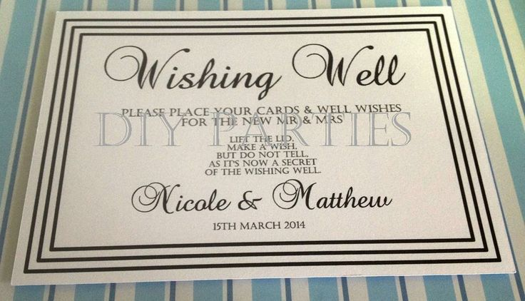 Table sign - Wishing well - Black/White. Find us on facebook www.facebook.com/DIYParties.