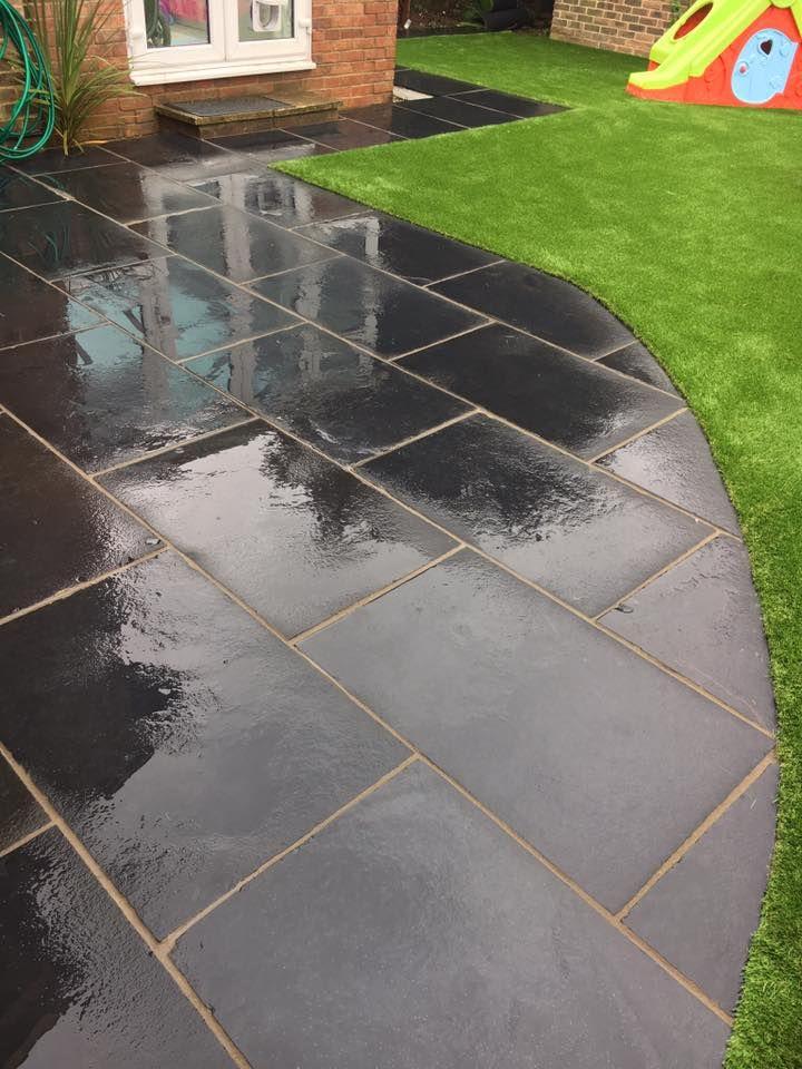 Patio ideas, unique designs, black stone