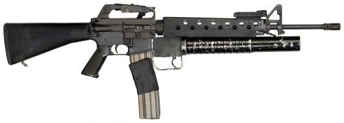 M16A1 with Faux M203 Grenade Launcher, Quadrant and Front ladder sight that was used in Scarface.