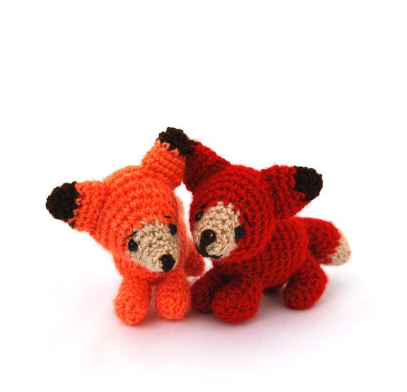 $33.42 miniature fox, stuffed woodland animal, tiny amigurumi fox, crochet #collectible, cuddle cute gift for #children, little animal doll, pocket TOY