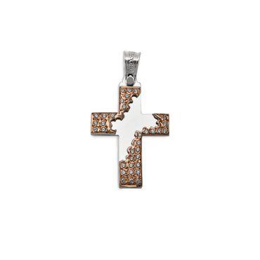Κλασικός βαπτιστικός σταυρός για κορίτσι λευκόχρυσος Κ14 και λουστρέ επιφάνεια με ροζ χρυσό και ζιργκόν | Βαπτιστικοί σταυροί ΤΣΑΛΔΑΡΗΣ στο Χαλάνδρι #τριαντος #σταυρος #βαπτιση