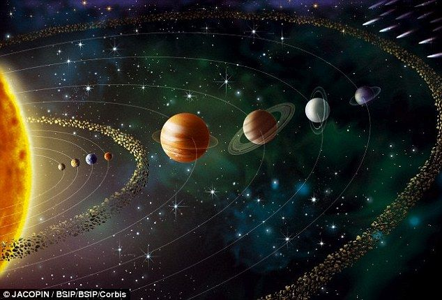 It was first proposed in 2011 that a fifth giant gas planet orbited the sun, but it is only now that experts have proposed how it was pushed out. An illustration of the modern solar system is shown above