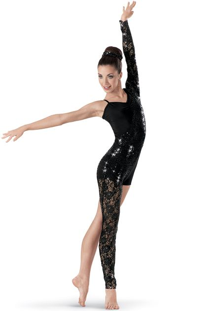 Weissman™ | Asymmetrical Sequin Lace Unitard>> this is my jazz costume