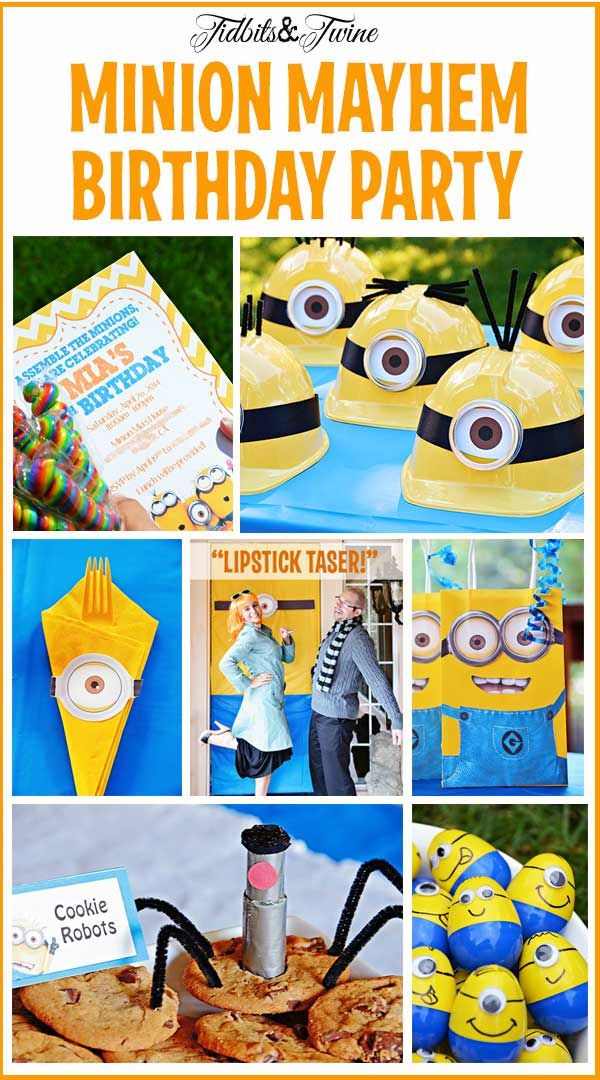 TIDBITS & TWINE: Despicable Me Minion Mayhem Birthday Party. Ideas for invitations, games, food and more plus links to all resources.