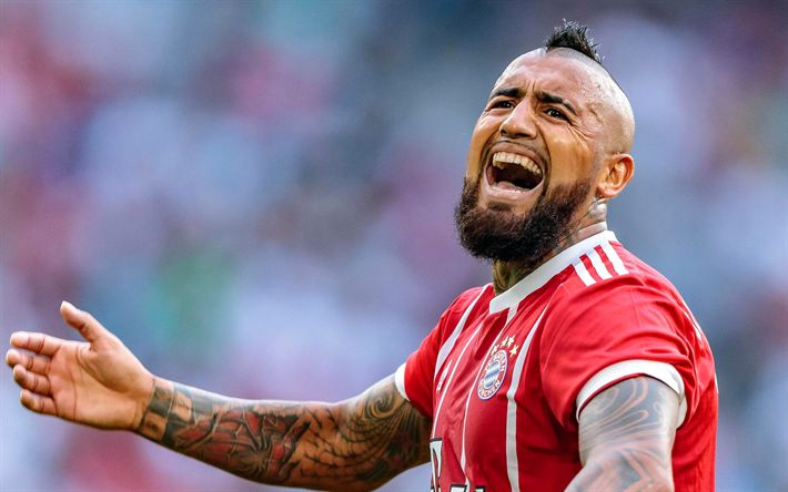 Download wallpapers Arturo Vidal, Chilean footballer, Bayern Munich, Germany, portrait, Bundesliga
