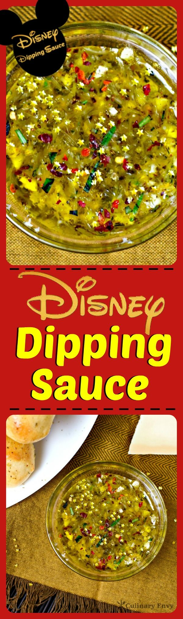 Disney Dipping Sauce is the perfect blend of garlic infused olive oil, herbs, spices and Parmesan cheese.  With just a dash of golden stars. Click to read more or pin & save for later!