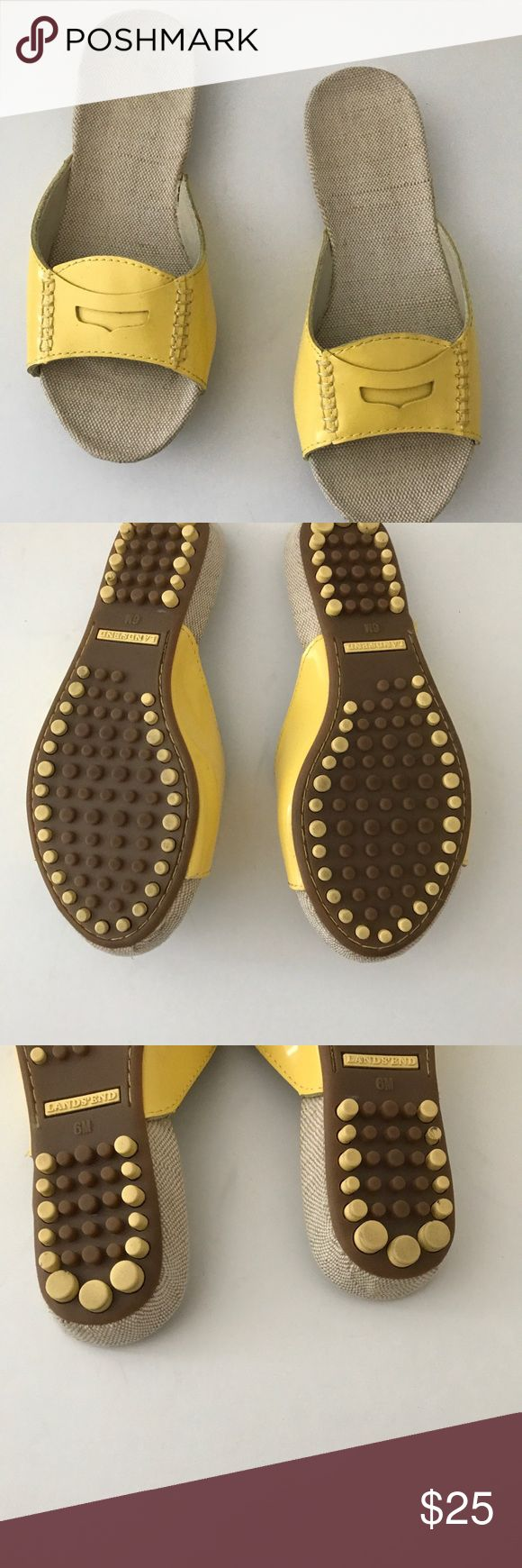 Yellow Patent Slides Yellow LAN's End Patent Slides in gently used condition. Size:6 Lands' End Shoes Flats & Loafers