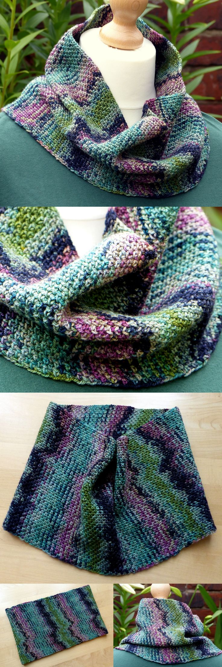 Colour Pool Cowl - Free Crochet Pattern from Make My Day Creative specifically for short colour variegated yarn. Linen Stitch.
