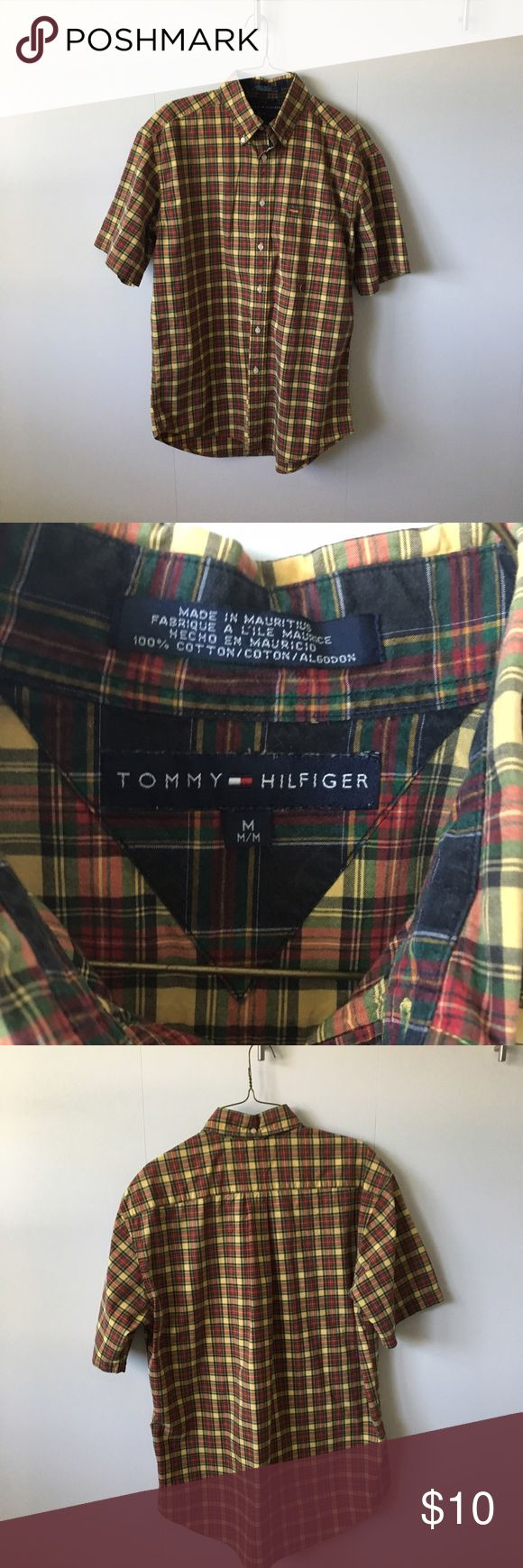 Tommy Hilfiger Shirt 100%Cotton short sleeve shirt. Nice & cool for the summer. Nice color combination and looks great  with jeans & boots! Tommy Hilfiger Shirts Casual Button Down Shirts