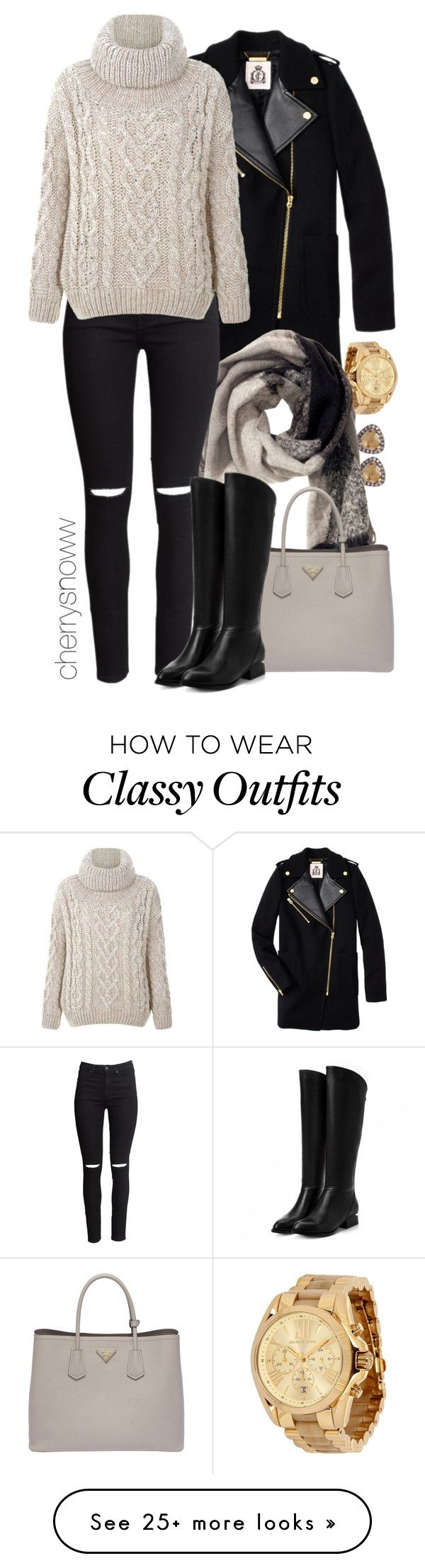 """Classy edgy casual chic fall outfit"" by cherrysnoww on Polyvore featuring moda, Juicy Couture, Suzanne Kalan, Michael Kors, H&M e Prada"