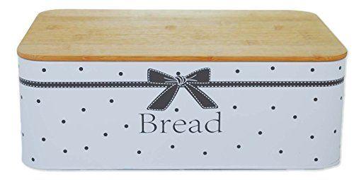 Bread Brotkasten Herz Schleife Bambusdeckel Metalldeckel Brotbox Brotbehälter (Bambus Deckel, Schleife)