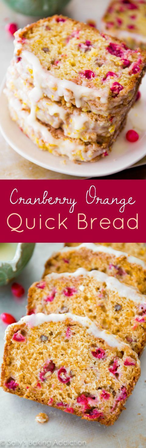 Super-moist cranberry bread with orange zest, orange glaze, and sweet streusel on top! No mixer required for this homemade cranberry bread recipe.