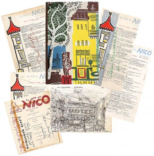 ith 80 signatures of the 1960's and 1970's beau monde  CAFÉ AU PERE DE NICO Two decade run of signed menus.  [No publisher]. 1956-1974. #food #restaurants #cuisine #inscribed
