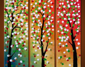 Arco iris arte cuadros Original gran abstracto por AmyGiacomelli