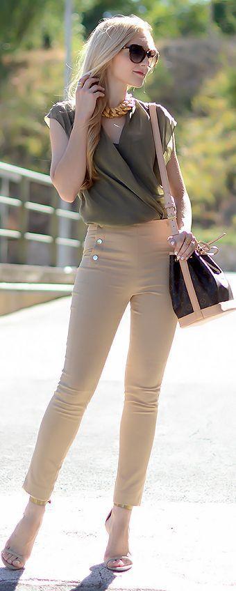 Zara Bottle Green Loose Flattering Wrap Chiffon Top | Street Fashion