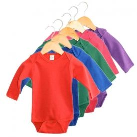 Cheap Newborn Long Sleeve Onesies in Solid Color Plain Garments