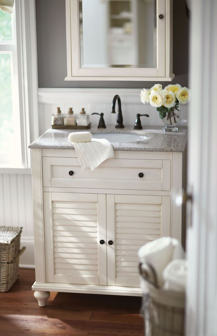Half bathroom ideas gray - Small Bath No Problem A Single Vanity Like This One Is The Answer