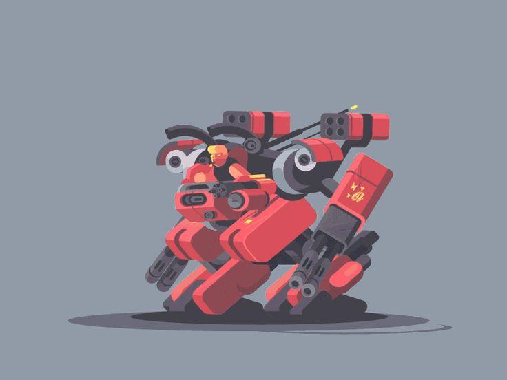Dribbble kit8 n animation  exoskeleton  flat  future  gif  kit8  military  robot  soldier  vector