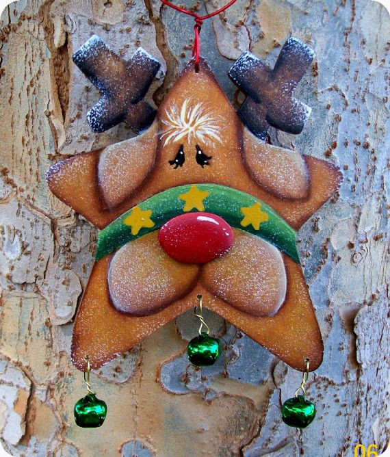 Jingle Star Reindeer Ornament by CountryCharmers on Etsy, $7.50