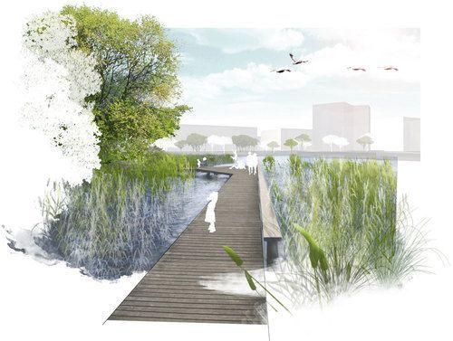 Landscape Architecture Perspective Drawings sistemazione paesaggista del lungolago di aspern. vienna