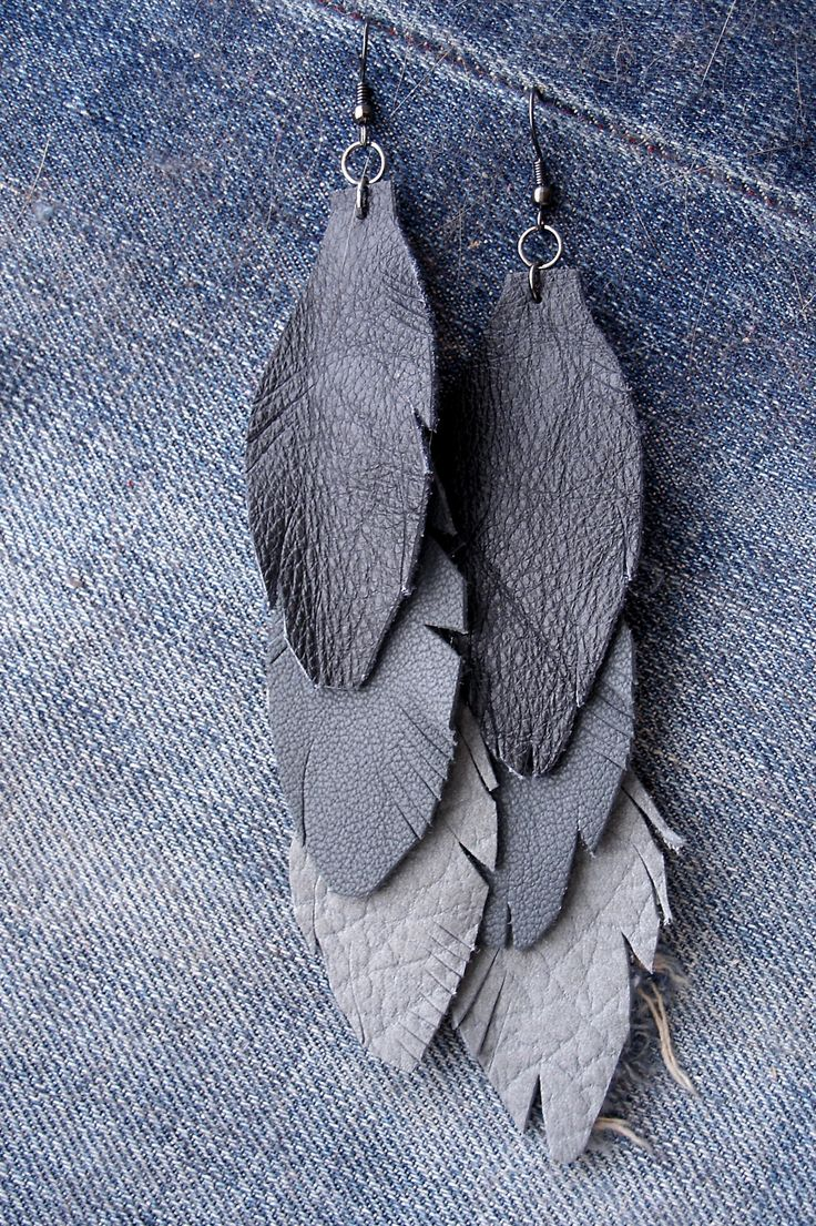 Leather Feather Earrings by #YoursOnly