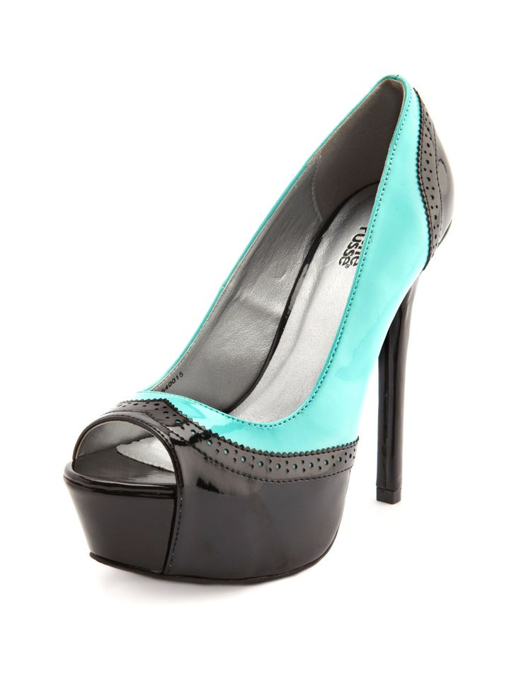 Patent Peep Toe Spectator Pump - this is a cool take on the classic black n white lookChiffon Buttons, Shoes, Pump 36, Spectator Pump, Charlotte Russe, Toes Spectator, High Heels, Patent Peep, Peep Toes