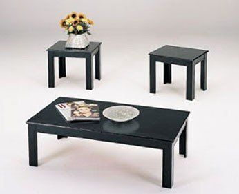 3 Piece Black Wood Veneer Coffee Table Set With Coffee Table And 2 Side  Tables By