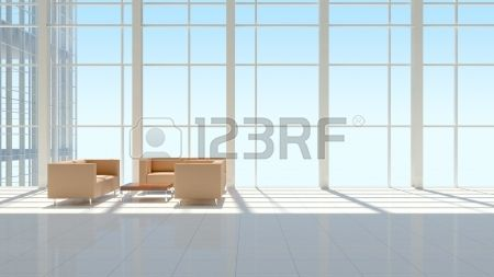 The interior of an office building  The blue sky background