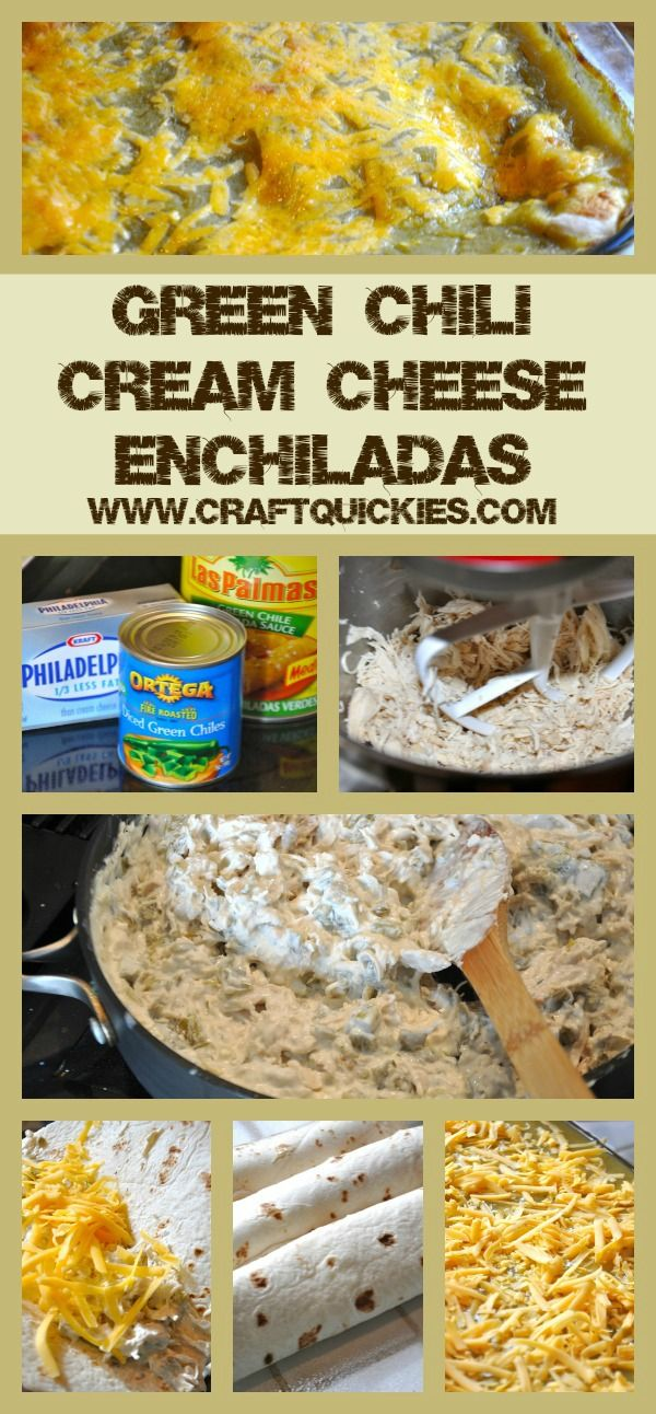 Green Chili Cream Cheese Enchiladas. I have been looking for these for months.