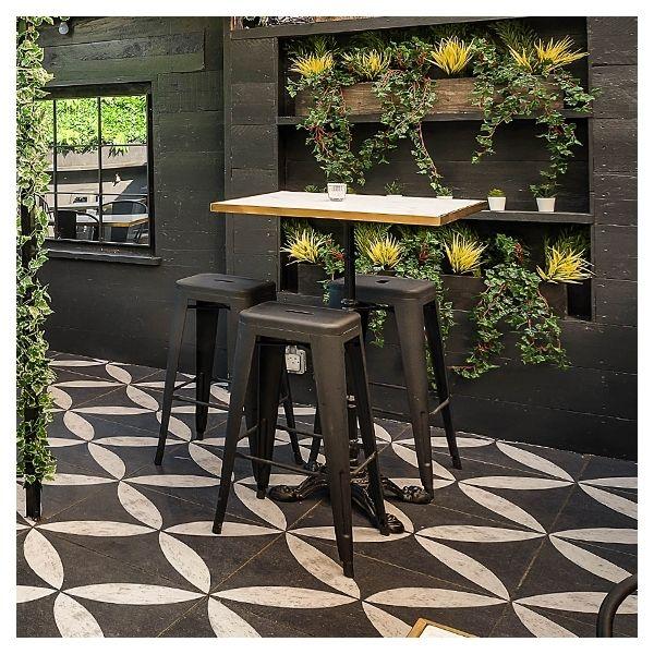 Xavier Pauchard Tolix Style Metal Bar Stool With Dark Wood Seat